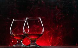 Luxurious and expensive French brandy in a glass royalty free stock images