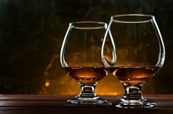 Luxurious and expensive French brandy in a glass stock photography