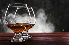 Luxurious and expensive French brandy in a glass stock photo