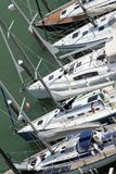 Luxurious and expensive yachts and motor boats moored in the tou Stock Photo