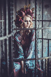 Luxurious  fashion stylish girl  in cage. Flower dress and a wr Stock Photos