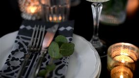 Luxurious festive table setting stock video footage