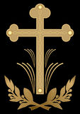 Luxurious funereal decoration, golden cross with flourish motif on black background. Christian burial symbol. Vector eps10 Royalty Free Stock Photos