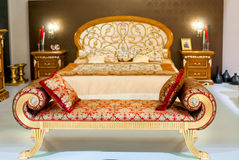 Luxurious furniture in a bedroom. Luxurious furniture in a beautiful bedroom royalty free stock images