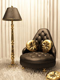 Luxurious furniture in design interior. Golden and leather brown Royalty Free Illustration