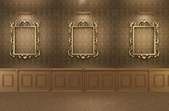 Luxurious Gallery Interior with empty frames Stock Images