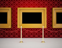 Luxurious Gallery Interior with empty frames on wall Royalty Free Stock Images