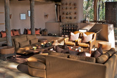 Luxurious Game Lodge. Interiors of a luxurious game lodge in Okavango Delta, Botswana, Africa stock photos