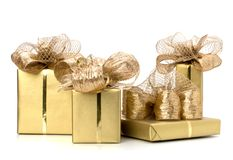 Luxurious gifts isolated on white background Royalty Free Stock Photos