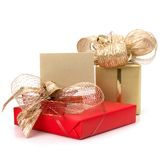 .Luxurious gifts with note Stock Photography