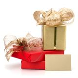 Luxurious gifts with note Stock Image