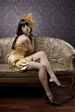 Luxurious glamorous models in gold Stock Photo