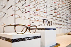 Luxurious glasses in optician shop Royalty Free Stock Photos
