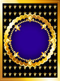 Luxurious gold card. Vintage posh gold frame card, royal blue and fleur-de-lys Royalty Free Stock Image