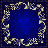 Luxurious gold pattern frame on a dark blue background Royalty Free Stock Photography
