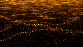 Luxurious gold sparkling particles wave background. 3d rendering Stock Photos
