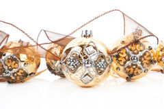 Luxurious golden christmas balls. Royalty Free Stock Image