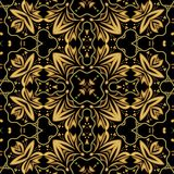 Luxurious golden embossed brocade or damask oriental patterns, symmetric ornament on black background Royalty Free Stock Photo