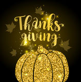 Luxurious golden glitter card with pumpkin Royalty Free Stock Image