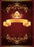 Luxurious golden ornament and crown Stock Images