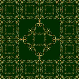 Luxurious golden ornament on dark green background Royalty Free Stock Photo