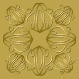Luxurious golden tile with plastic vintage ornament, elegant vector background for gift boxes, packages. Vector EPS 10 Royalty Free Stock Images