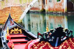Luxurious gondola parked, in Italy, Europe Royalty Free Stock Photos