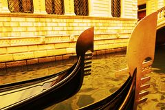 Luxurious gondolas in vintage hues, Venice, in Italy, Europe Royalty Free Stock Photography