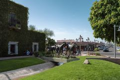 Luxurious green vegetaion and horse statues in Old Town Scottsdale, Arizona. SCOTTSDALE, ARIZONA - October 21 2017: Luxurious green vegetation and horse statues royalty free stock images
