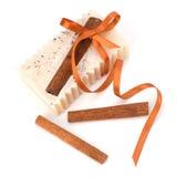 Luxurious handmade cinnamon soap Stock Photos