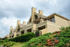 Luxurious hillside resort style home Royalty Free Stock Photo
