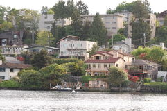 Luxurious hillside waterfront homes Stock Image