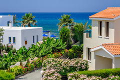 Luxurious holiday beach villas. For rent on Cyprus royalty free stock photography