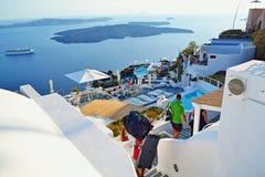 Luxurious holiday hotel panoramic terrace Santorini island Greece stock photography