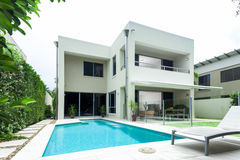 Luxurious home. Luxurious modern house with swimming pool and backyard stock photography