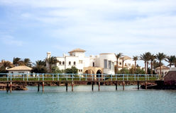 Luxurious hotel in El Gouna. Exterior of luxurious hotel with landscaped gardens, El Gouna, Egypt Royalty Free Stock Photo