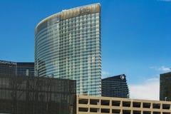 Luxurious hotel in Las Vegas. Las Vegas, NV, USA - 13th July 2013: Aria Hotel main building on Las Vegas strip stock image