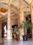 Luxurious hotel lobby. Luxurious hotel with pink marble columns in Havana Stock Photos