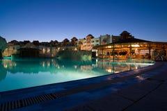 Luxurious hotel night illumination. Hurgada, Egypt Royalty Free Stock Photos