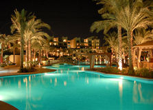 Luxurious hotel night illumination. Sharm el Sheikh, Egypt Royalty Free Stock Photography