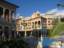 Luxurious hotel and pool. Exterior of luxurious tourist resort hotel and swimming pool, Spain stock image