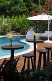 Luxurious hotel pool and bar. Luxurious hotel outdoors bar and pool stock photo