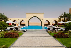Luxurious hotel pool complex. Luxury hotel and pool complex set in the desert, UAE Stock Photo