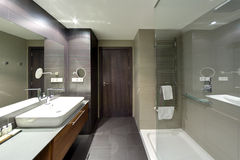 Luxurious hotel resort bathroom. An image of a modern upscale bathroom interior in a new luxurious resort hotel. Fitted with shower area, large mirror on the royalty free stock image