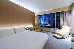 Luxurious hotel room. Interior with large window Stock Images