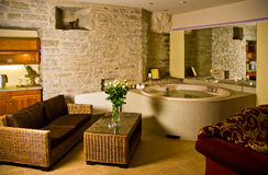 Luxurious hotel room. A luxurious hotel room with antique furniture and a jacuzzi stock photos