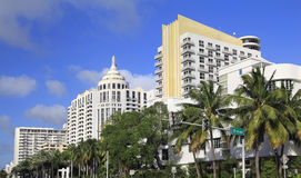 Luxurious hotels in Miami Beach, Art Deco architecture, Florida Royalty Free Stock Photos
