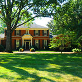 Luxurious house. Exterior of luxurious home and gardens, Nashville, Tennessee, U.S.A royalty free stock image