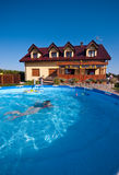 Luxurious house and pool Royalty Free Stock Images