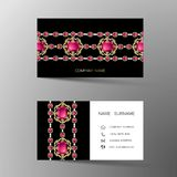 Card98. Luxurious Indian business card design, diamond gem jewelry color.Contact card for company. Two sided. Vector illustration Vector Illustration
